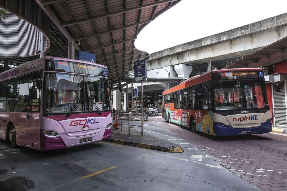 RapidKL and GoKL buses at the Pasar Seni bus station in Kuala Lumpur November 3, 2020. — Picture by Hari Anggara