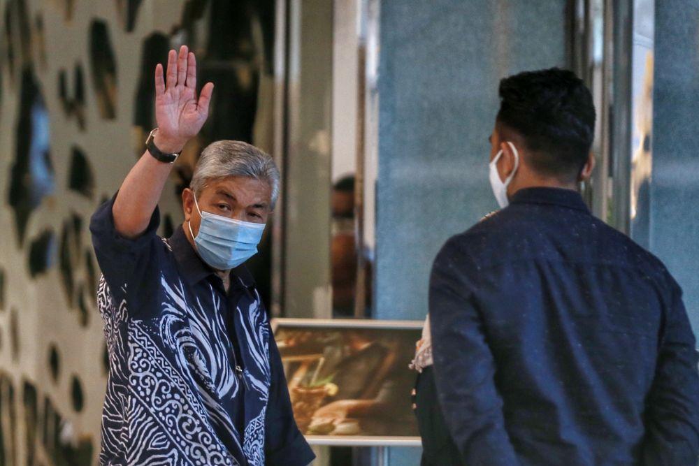 Umno president Datuk Seri Ahmad Zahid Hamidi is pictured at Hilton Kuala Lumpur for a meeting with Perikatan Nasional leaders November 1, 2020. — Picture by Ahmad Zamzahuri