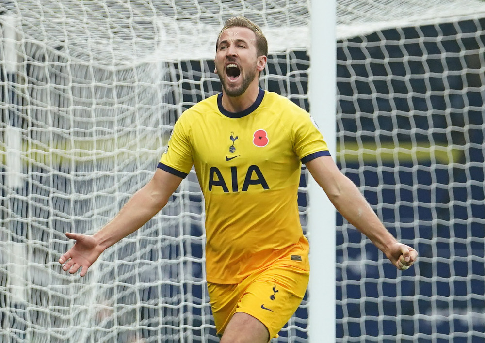 Tottenham Hotspur's Harry Kane celebrates scoring their first goal during their Premier League match against West Bromwich Albion at The Hawthorns, West Bromwich November 8, 2020. — Picture by Dave Thompson/Pool via Reuters