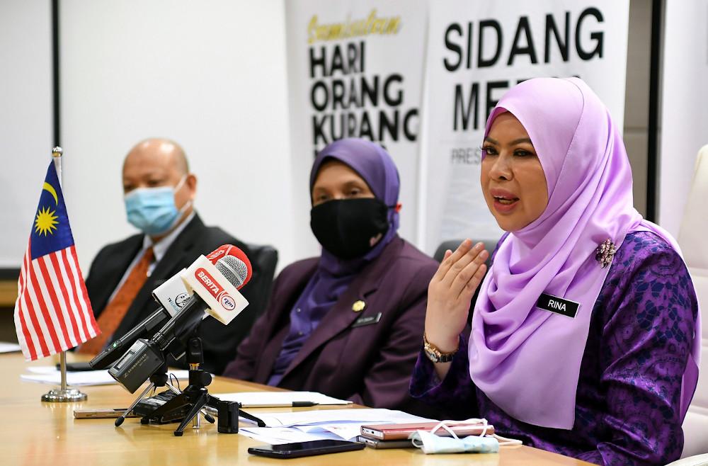 Women, Family and Community Development Minister Datuk Seri Rina Mohd Harun after an award ceremony for people with disabilities in Putrajaya, November 25, 2020. — Bernama pic