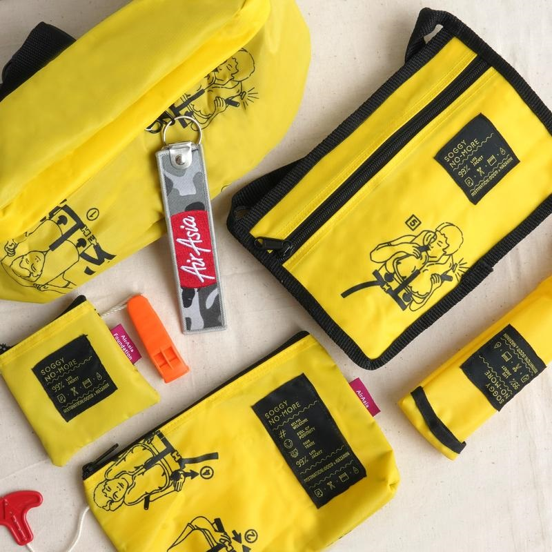 There are a total of six different items in the upcycled Soggy No-More collection. ― Picture courtesy of Air Asia Foundation