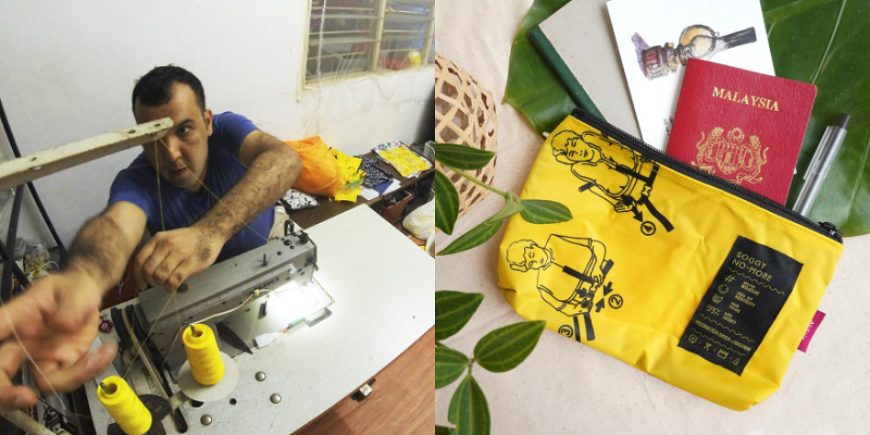 Qasem has been making the bags for the past two years at his flat in Ampang. ― Picture courtesy of Air Asia Foundation