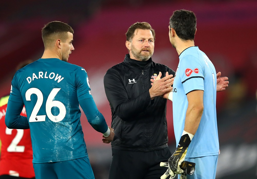 Southampton's Alex McCarthy celebrates with manager Ralph Hasenhuttl at the end of the match against Newcastle United November 7, 2020. ― Pool via Reuters