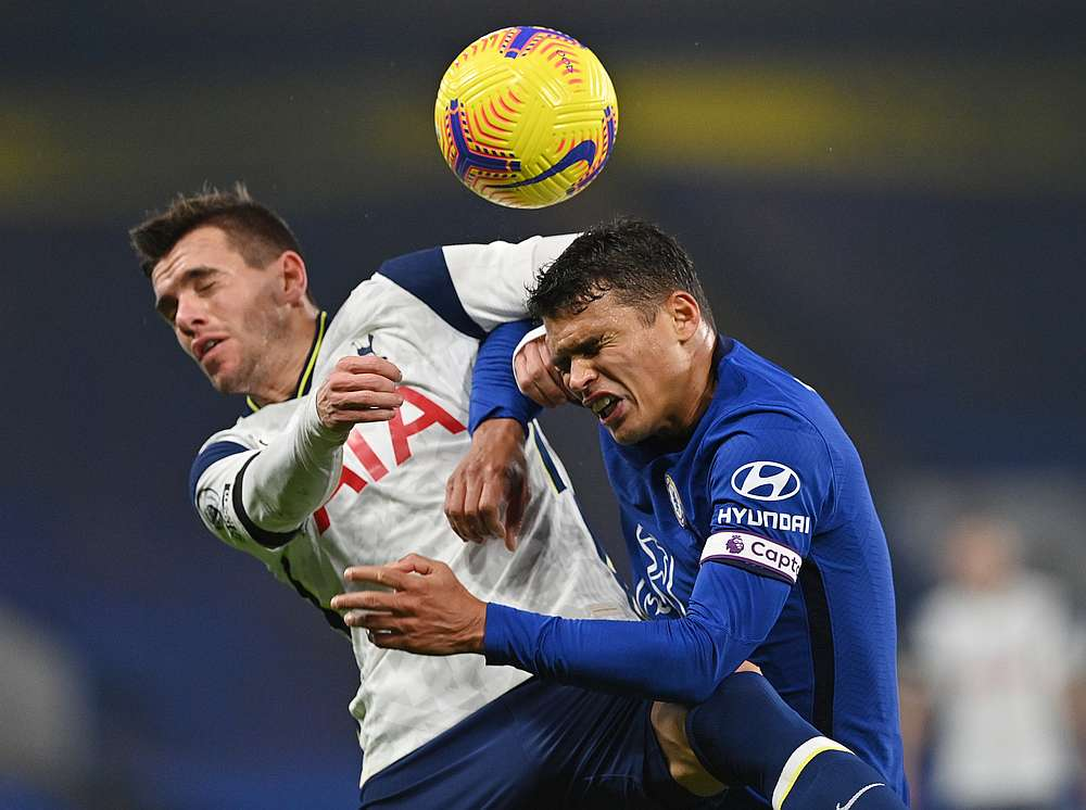 Chelsea's Thiago Silva (right) in action with Tottenham Hotspur's Giovani Lo Celso in their English Premier League match at Stamford Bridge, London November 29, 2020. — Pool pic via Reuters