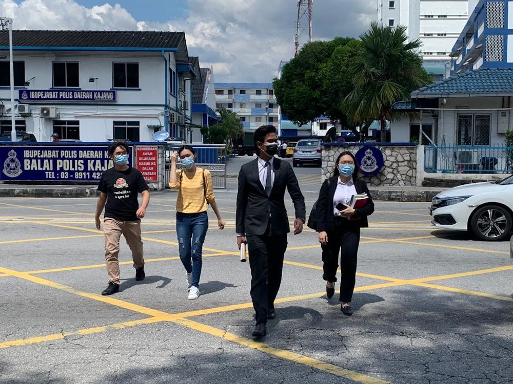 Umany members are seen outside the district police headquarters in Kajang on November 18, 2020. — Picture courtesy of Umany