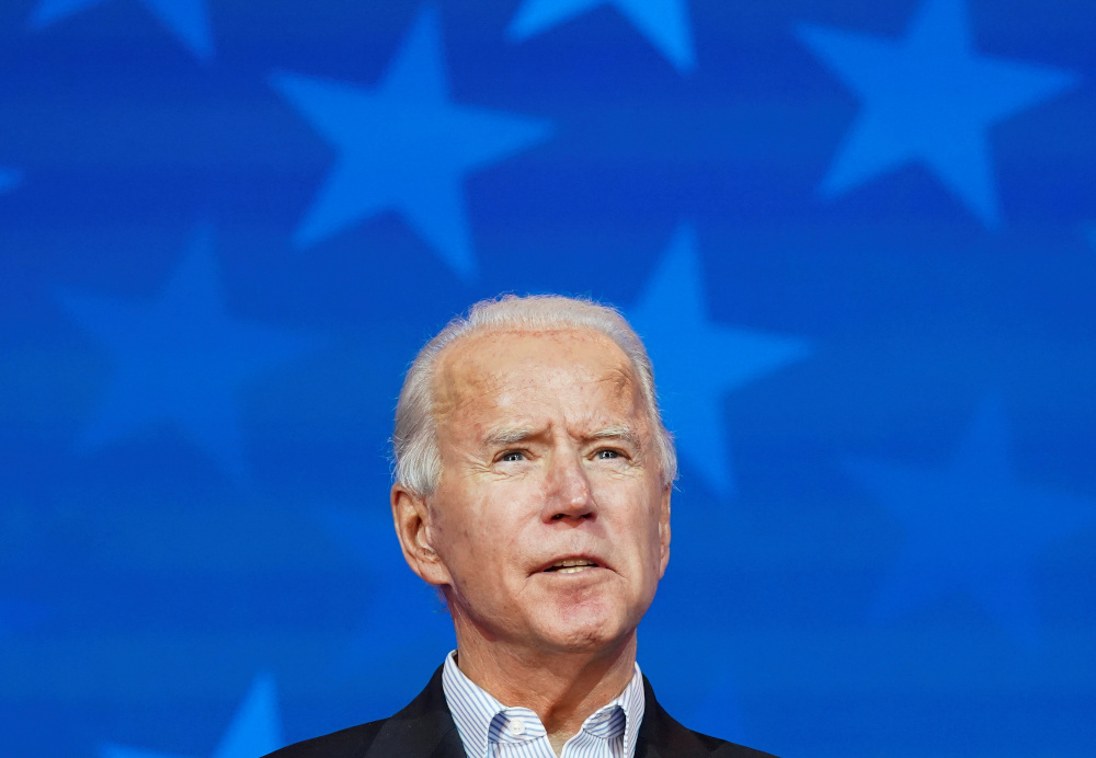 Democratic US presidential nominee Joe Biden makes a statement on the 2020 US presidential election results during a brief appearance before reporters in Wilmington, Delaware, November 5, 2020. — Reuters pic