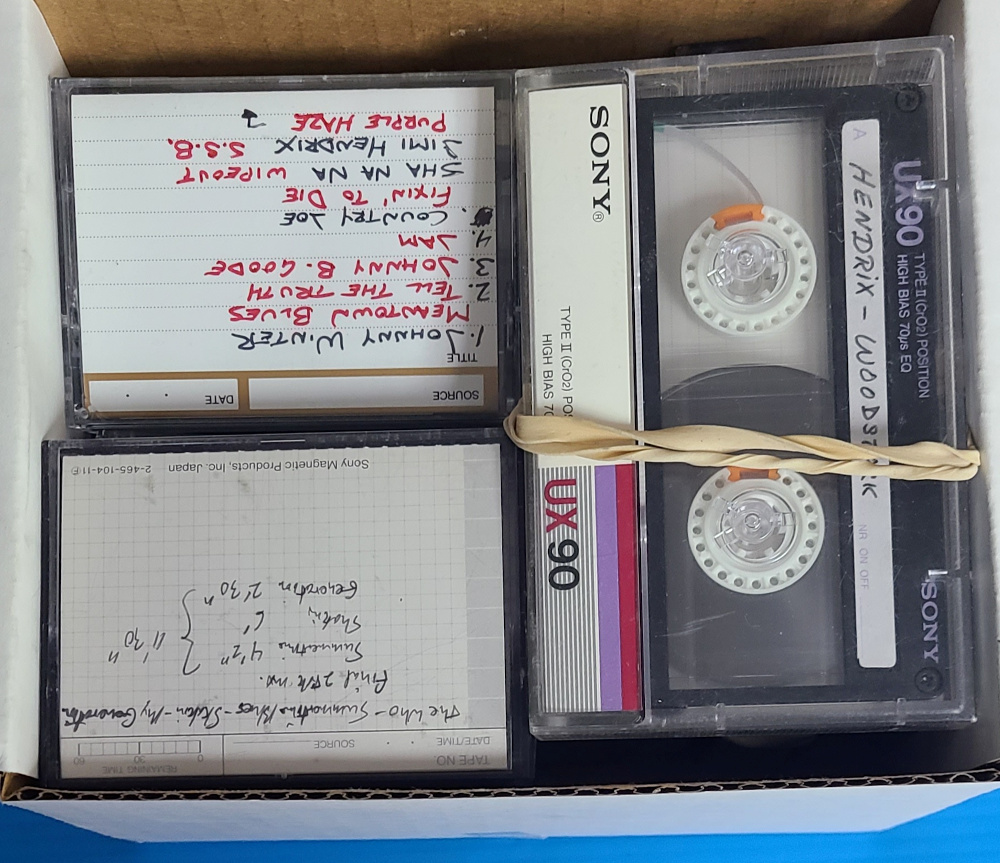 A collection of master tapes of performances from the 1969 Woodstock festival is seen in an undated handout photo ahead of an auction to be held November 28, 2020, in Los Angeles, California. — GWS Auctions handout pic via Reuters