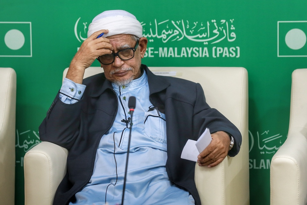 File picture shows PAS President Datuk Seri Abdul Hadi Awang speaking during a dialogue session with the media at the PAS headquarters in Kuala Lumpur December 13, 2020. — Picture by Ahmad Zamzahuri