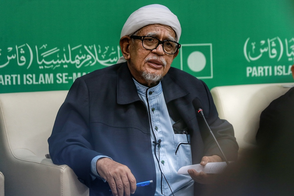 PAS President Datuk Seri Abdul Hadi Awang speaks during a dialogue session with the media at the party's headquarters in Kuala Lumpur December 13, 2020. — Picture by Ahmad Zamzahuri