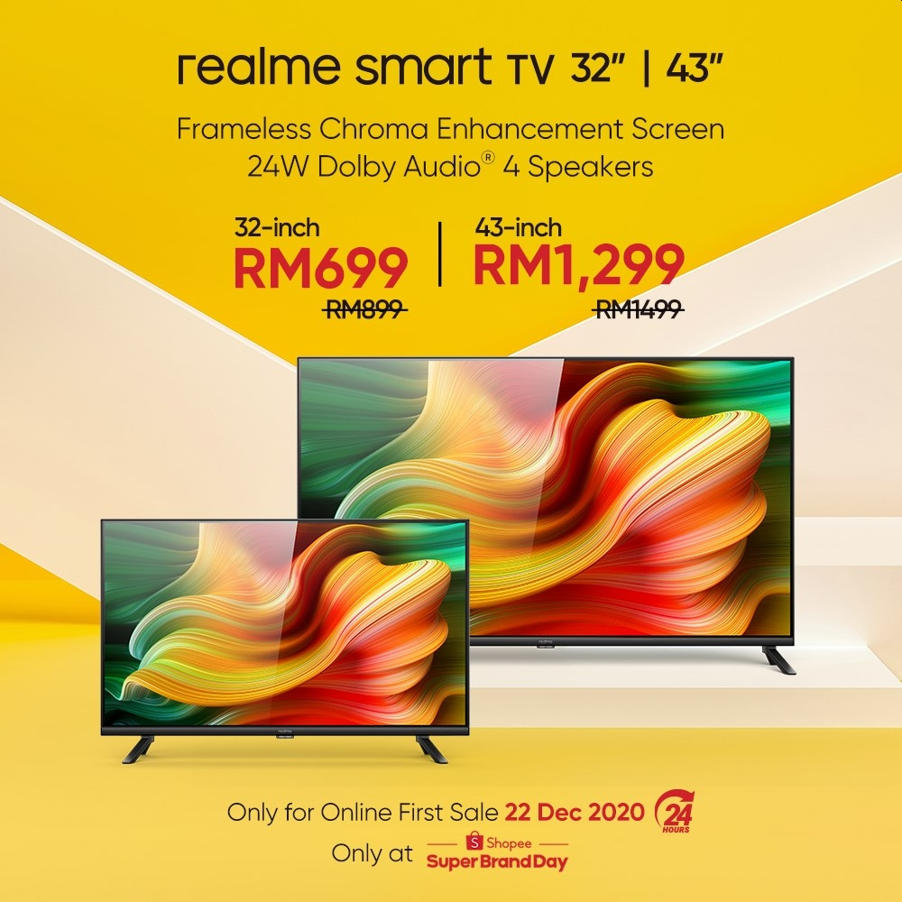 Both 32″ and 43″ Realme Smart TVs feature a bezel-less Ultra Bright LED Display that boasts a Chroma Boost engine. — SoyaCincau pic