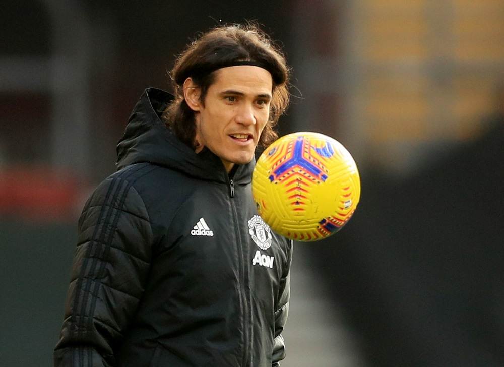 Manchester United's Edinson Cavani during the warm up before the match against Southampton at the St Mary's Stadium in Southampton November 29, 2020. — Pool pic via Reuters