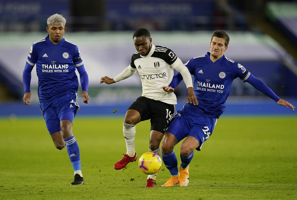 Fulham's Ademola Lookman in action with Leicester City's Dennis Praet during their match at the King Power Stadium in Leicester November 30, 2020. — Pool pic via Reuters