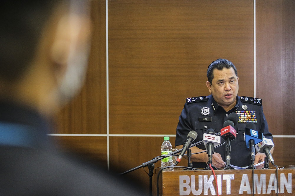 Bukit Aman Criminal Investigation Department (CID) director Datuk Huzir Mohamed speaks during a press conference at Bukit Aman in Kuala Lumpur December 1, 2020. — Picture by Hari Anggara