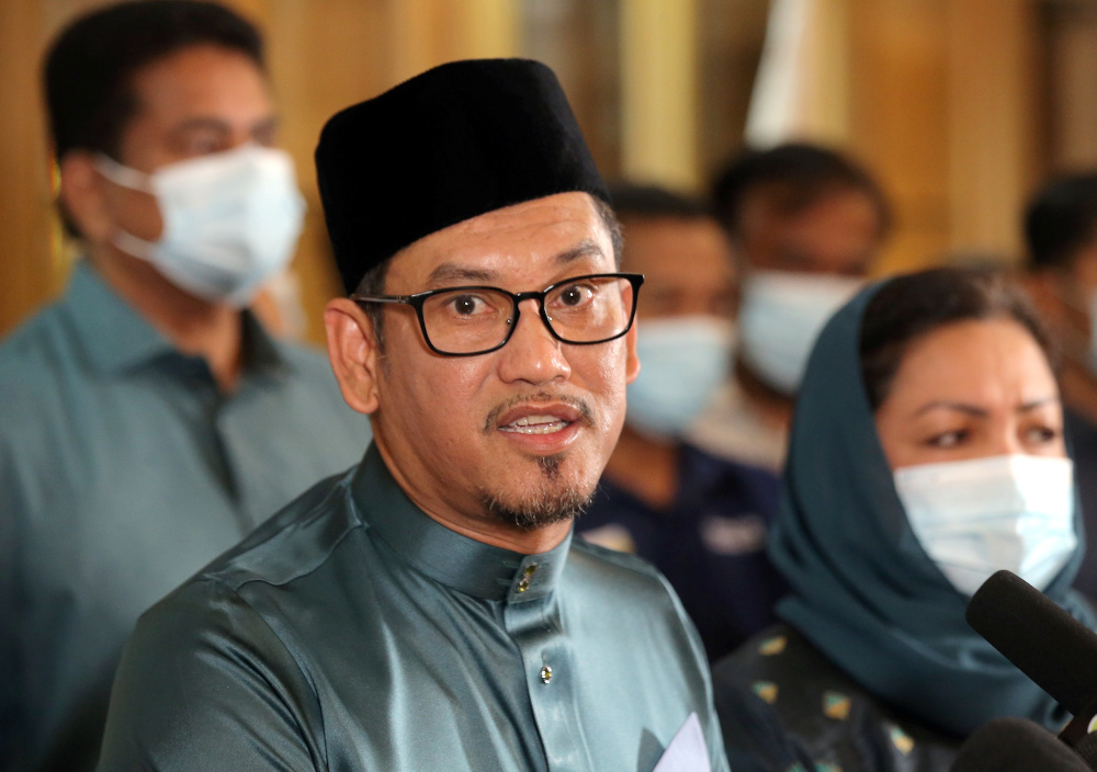 Datuk Seri Ahmad Faizal Azumu speaks to the press at the Perak Mentri Besar House in Ipoh December 5, 2020. — Picture by Farhan Najib