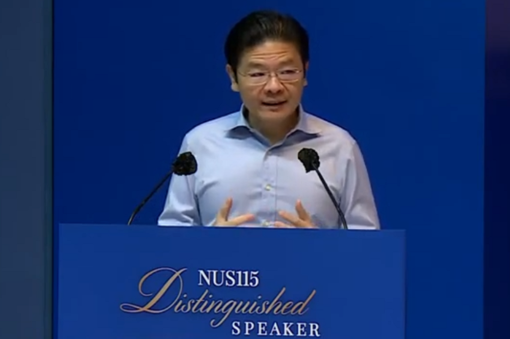 Education Minister Lawrence Wong giving a speech at the National University of Singapore on Dec 3, 2020. — Screen capture via YouTube