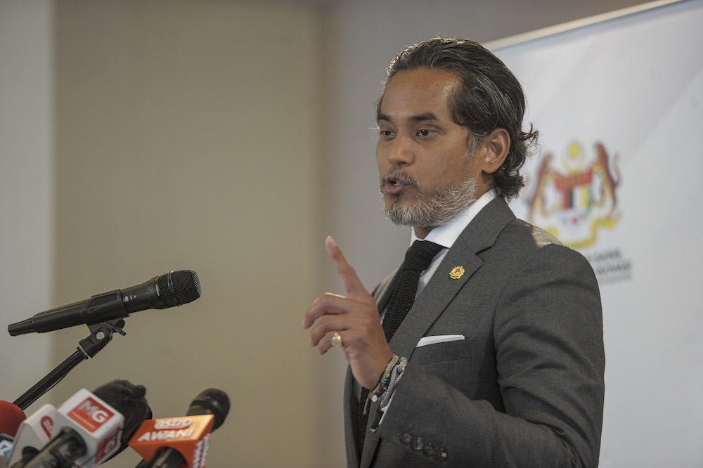 Khairy said this would be discussed in the Covid-19 Vaccine Supply Access Guarantee Committee Meeting to be chaired jointly by him and Health Minister Datuk Seri Dr Adham Baba. — Picture by Shafwan Zaidon
