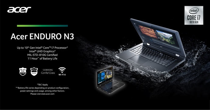 Acer's Enduro N3 laptop comes in i5 and i7 options. — Picture courtesy of Acer