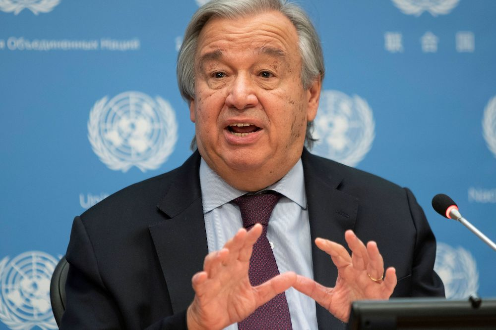 File photo of United Nations Secretary-General Antonio Guterres speaking during a news conference at UN headquarters in New York City, New York, US, November 20, 2020. — Reuters pic