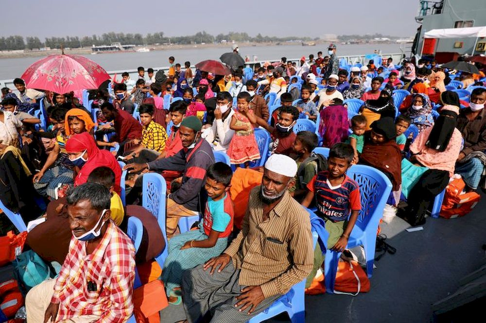 Rohingya refugees are seen aboard a ship as they are moved to Bhasan Char Island in Chattogram, Bangladesh, Dec. 4, 2020. — Reuters pic