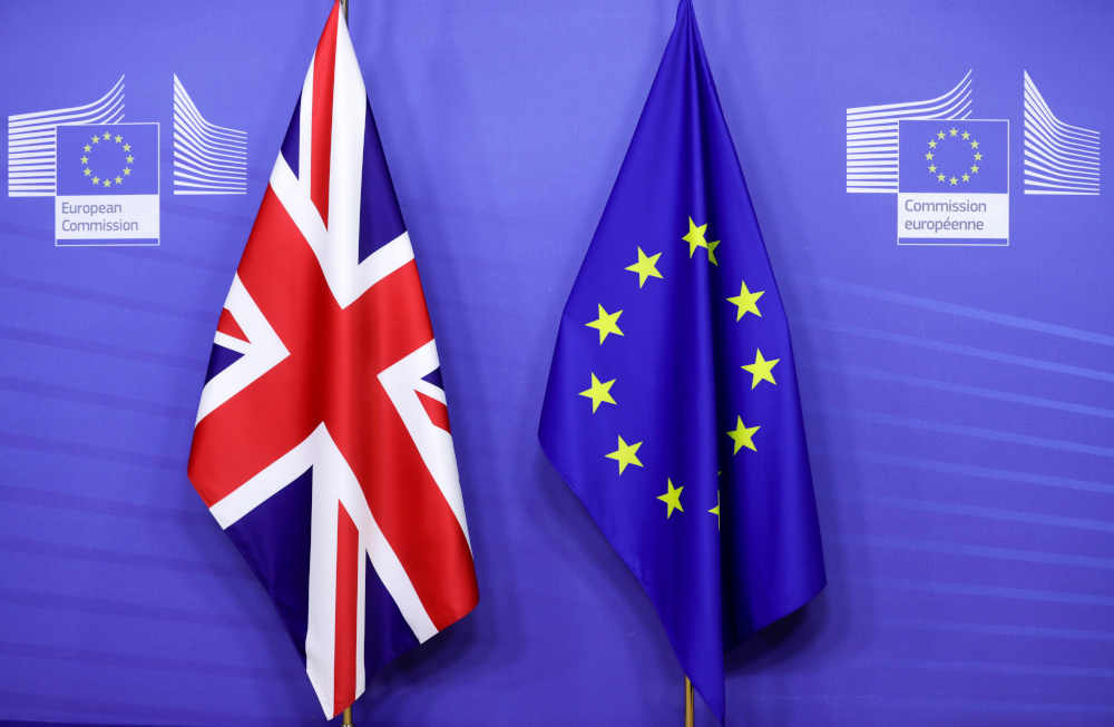 Flags of the Union Jack and European Union are seen ahead of the meeting of European Commission President Ursula von der Leyen and British Prime Minister Boris Johnson, in Brussels, Belgium December 9, 2020. — Reuters pic