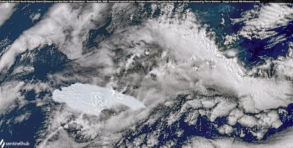 View of Iceberg A-68A from space near South Georgia Island, Atlantic Ocean December 8, 2020. — Copernicus Sentinel/Sentinel Hub/Pierre Markuse handout pic via Reuters