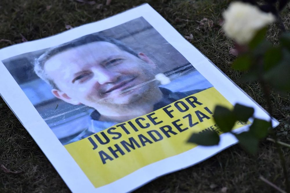 In this file photo taken on February 13, 2017 a flyer is pictured during a protest outside the Iranian embassy in Brussels for Ahmadreza Djalali, an Iranian academic detained in Tehran for nearly a year and reportedly sentenced to death for espionage. — AFP pic