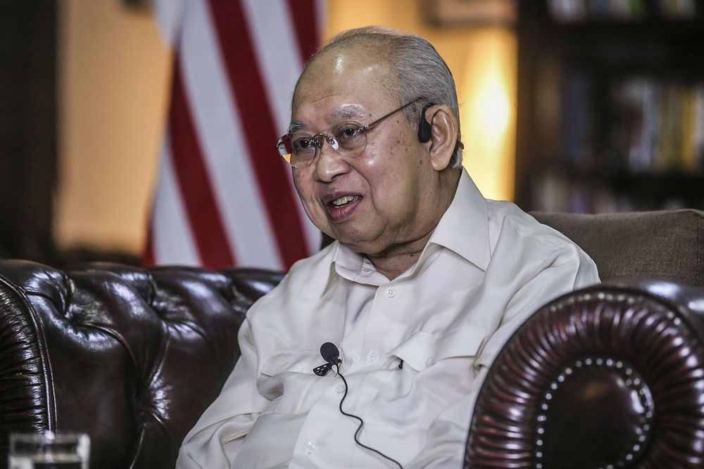 Gua Musang MP Tengku Razaleigh Hamzah speaking during an interview with the National Professor Council in this file picture taken on December 24, 2020. — Picture by Hari Anggara