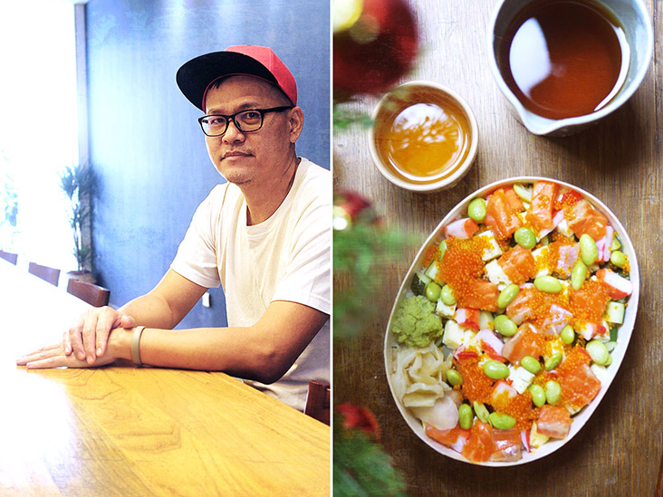 Chef Kuan tested various methods to allow the cooked foods to cool before packing.