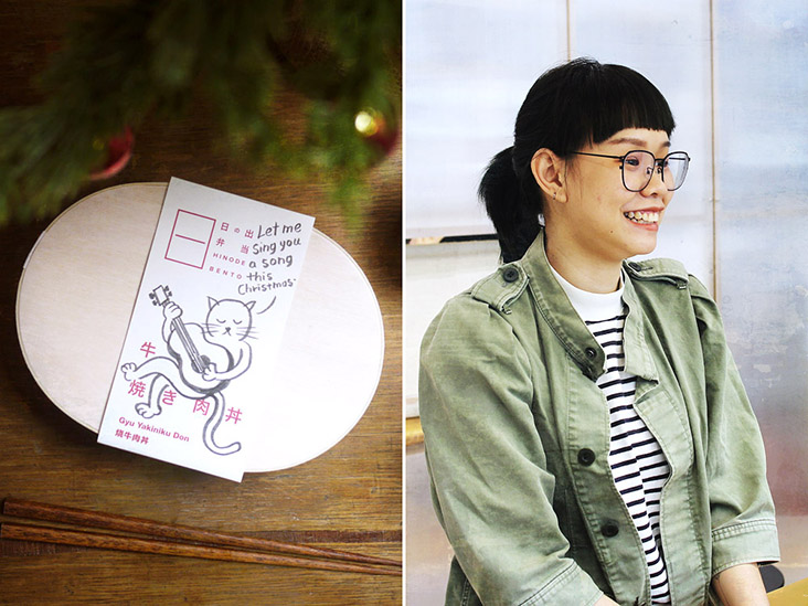Customer-focused Viko Ng adds a handcrafted touch to the bento box with a cheerful doodle.