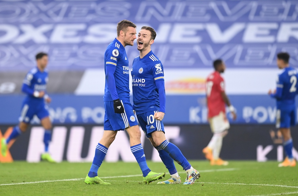 Leicester rallies twice to draw 2-2 with Manchester United