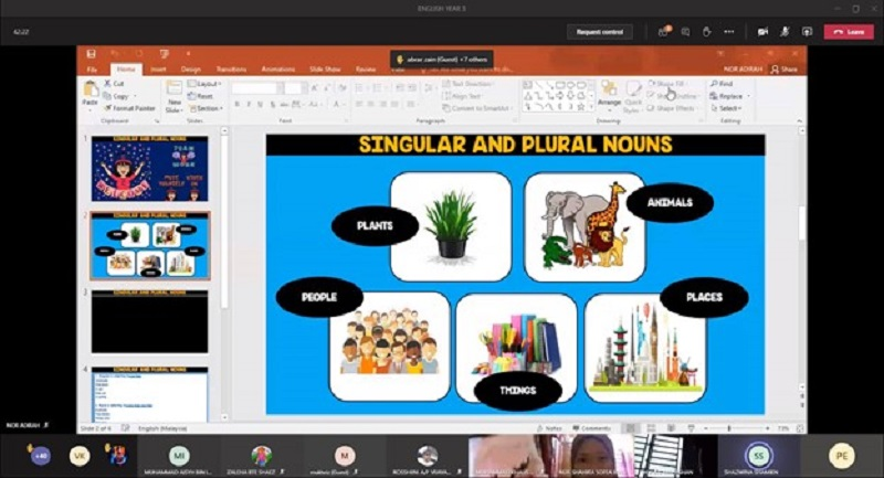 English language sessions being conducted virtually by SKTBI's teachers. ― Picture courtesy of Microsoft Malaysia