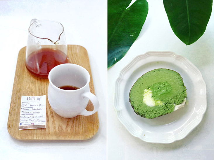 Everything is made fresh, be it a hand-brewed filter coffee (left) or a luxurious Matcha Roll.