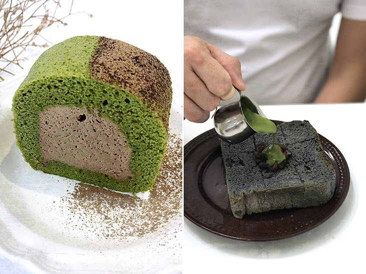 Houjicha & Genmaicha Roll (left). Pouring matcha cream over charcoal toast topped with adzuki beans (right).