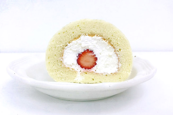 Let it snow: KITA's original roll cake, filled with light fresh cream and fresh Japanese strawberries.