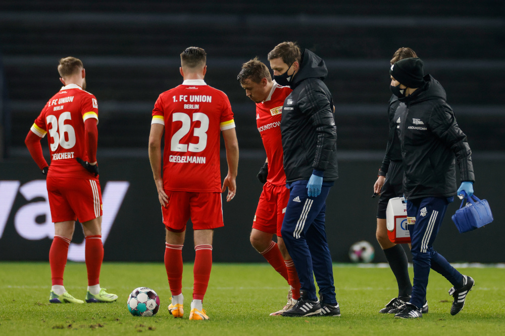 FC Union Berlin's Max Kruse after sustaining an injury during a match against Hertha BSC in Berlin, December 4, 2020. — Reuters pic