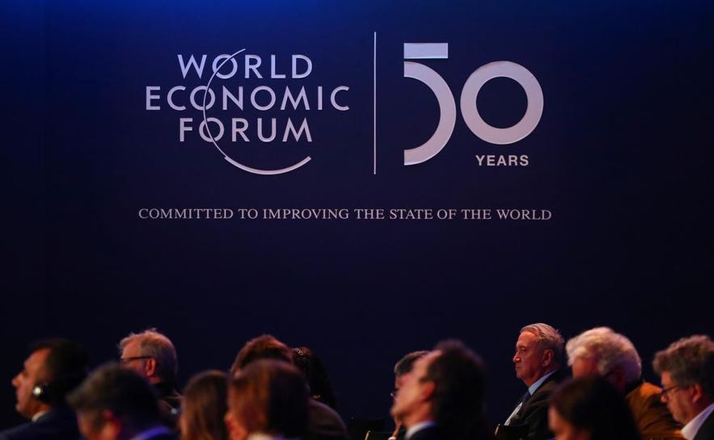A logo of the World Economic Forum (WEF) is pictured during a session in Davos, Switzerland, January 22, 2020. The World Economic Forum itself has been disrupted by the Covid-19 pandemic, shifting its usual January summit in Davos to May in Singapore. — Reuters pic