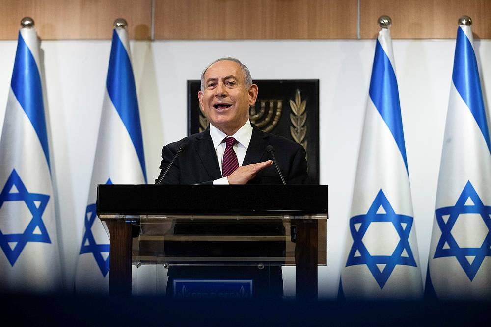Prime Minister Benjamin Netanyahu says Israel will discuss the possibility of a Covid-19 vaccine venture with Austria and Denmark. — Pool pic via Reuters