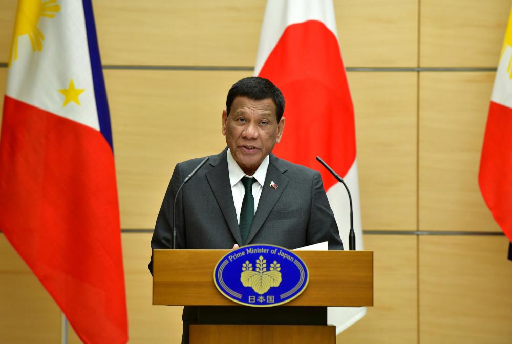 Philippine President Rodrigo Duterte delivers a speech in Tokyo May 31, 2019. — Reuters pic