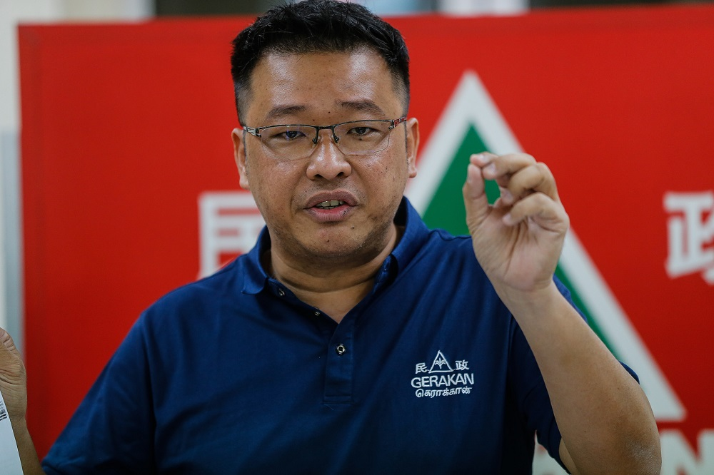 Gerakan Penang State Secretary Hng Chee Wey speaks to reporters at its Penang office in George Town December 30, 2020. ― Picture by Sayuti Zainudin