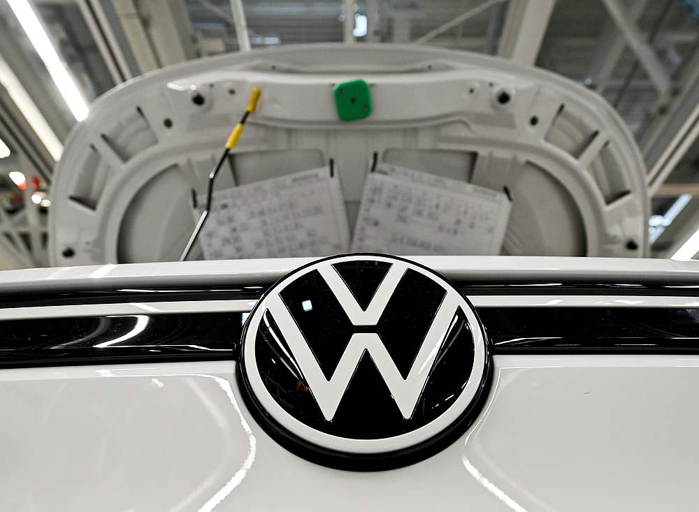 A car stands at the production line for the electric Volkswagen cars, model ID.3 and model ID. 4, in Zwickau September 18, 2020. — Reuters pic