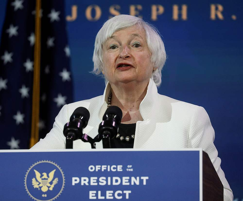 Treasury Secretary Janet Yellen says US interest rates may have to increase 'somewhat' to keep a lid on inflation if President Joe Biden's latest spending proposals are enacted and the economy heats up. — Reuters pic
