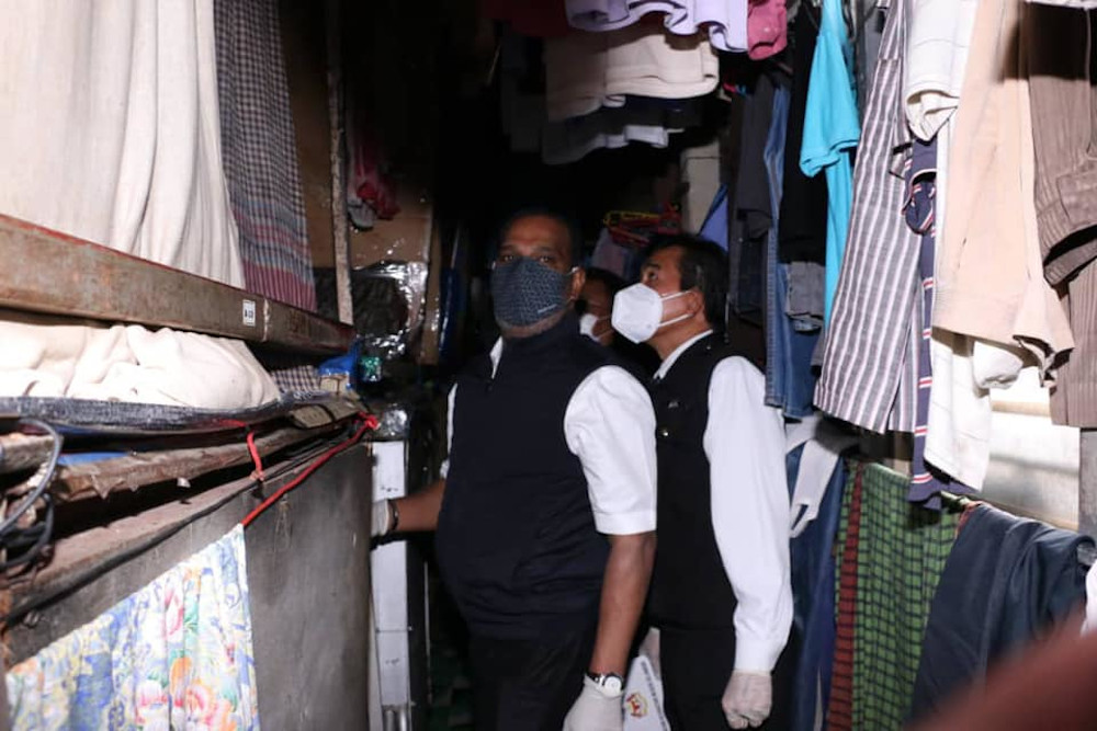 Human Resources Minister Datuk Seri M. Saravanan inspecting the workers' living conditions at Laglove's plant in Kajang, December 21, 2020. — Picture from Facebook/Kementerian Sumber Manusia