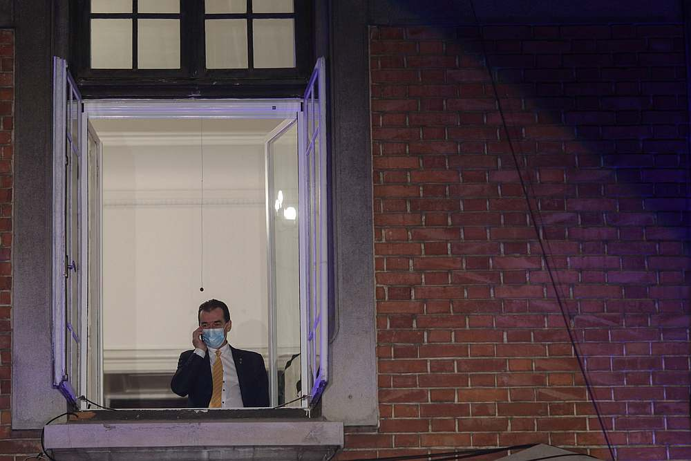 Romanian PM and leader of PNL, Ludovic Orban, speaks on the phone before the announcement of the first exit polls for the legislative election, in Bucharest, Romania December 6, 2020. — Inquam Photos via Reuters