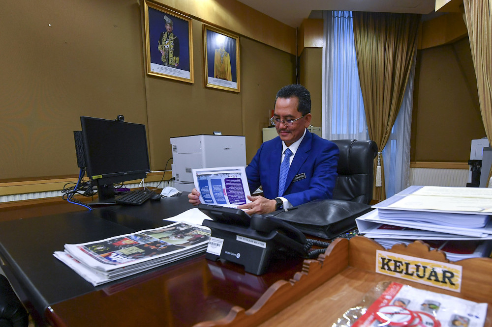 Communications and Multimedia Ministry secretary-general Datuk Seri Mohammad Mentek is seen at his office in Putrajaya, November 4, 2020. — Bernama pic