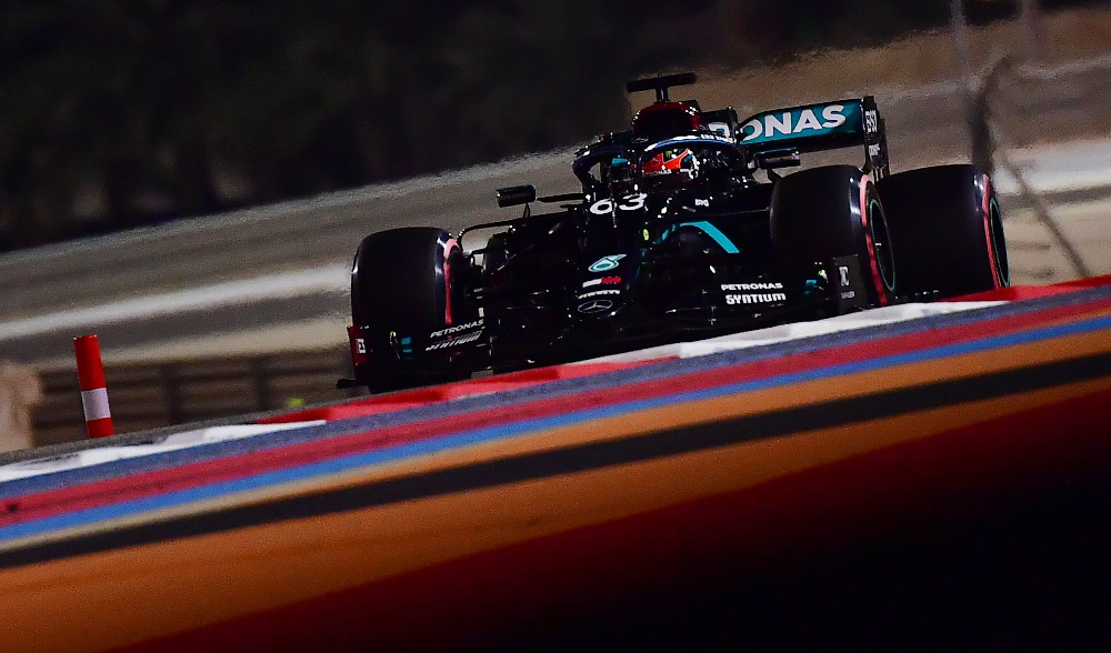 Mercedes' George Russell in action during Sakhir Grand Prix practice at the Bahrain International Circuit, Sakhir December 4, 2020. — Picture by Giuseppe Cacace/Pool via Reuters
