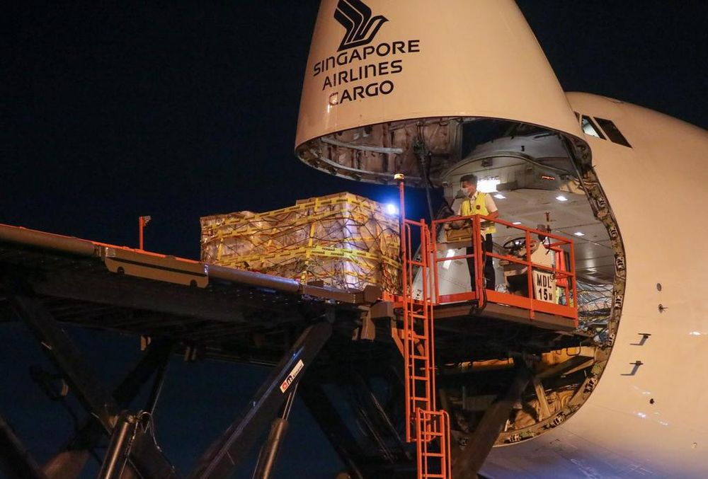 The Pfizer-BioNTech vaccine arrived on the evening of Dec 21, 2020, at Changi Airport aboard a scheduled SIA Boeing 747-400 freighter service from the Belgian capital Brussels. — TODAY pic