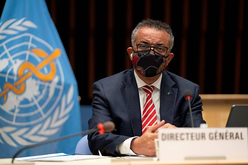 Tedros Adhanom Ghebreyesus, Director General of the World Health Organisation (WHO), during a session on the cCovid-19 outbreak response of the WHO Executive Board in Geneva, Switzerland October 5, 2020. — WHO handout via Reuters pic
