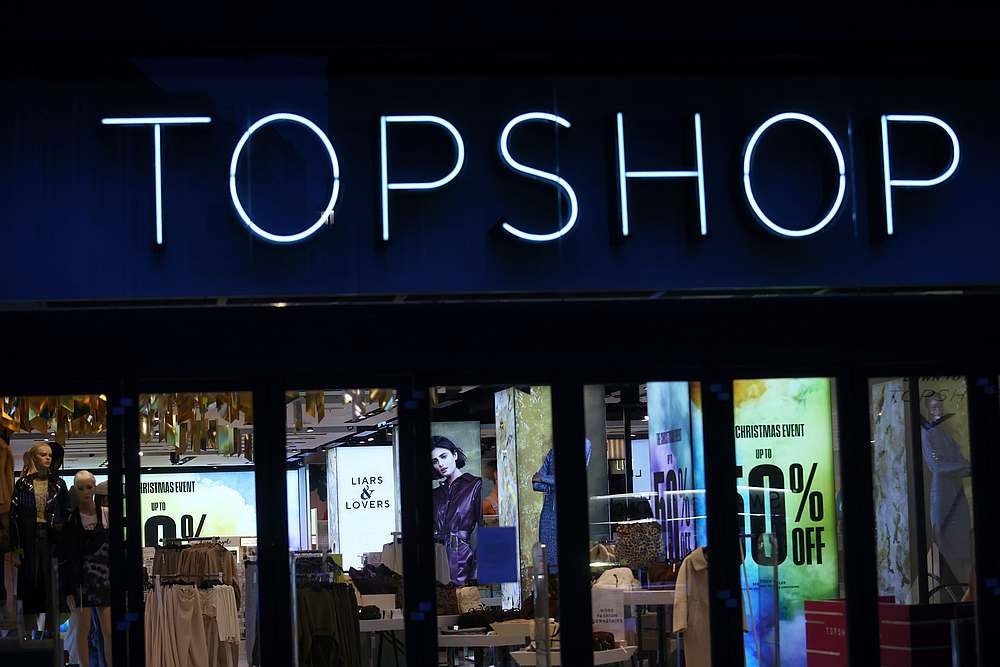 General view of a Topshop store logo, owed by Arcadia group on Oxford street in London, Britain November 30, 2020. — Reuters pic