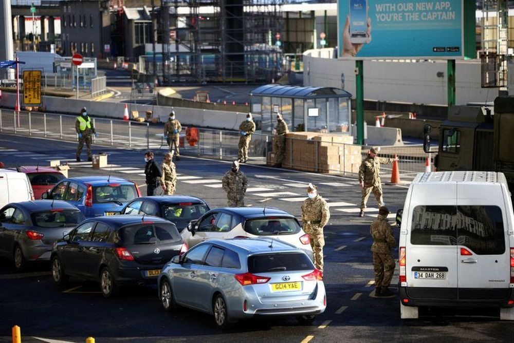 British soldiers check vehicles at the entrance of the Port of Dover, amid the coronavirus disease (Covid-19) outbreak, in Dover, Britain, December 25, 2020. — Reuters pic