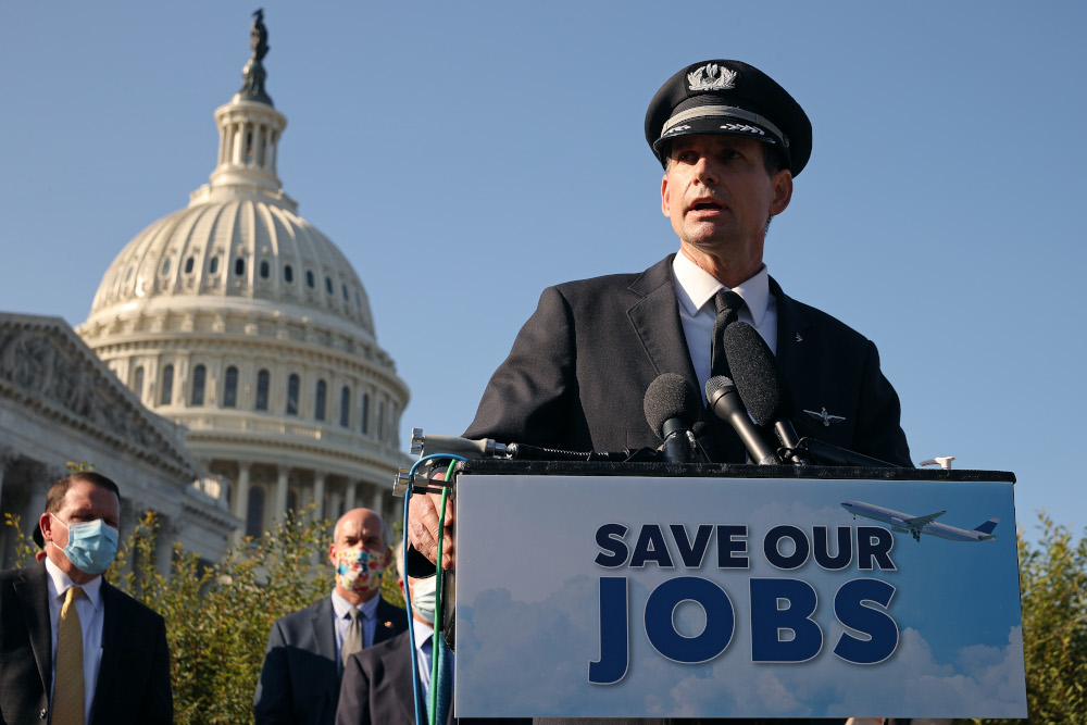 In this file photo taken September 22, 2020, Allied Pilots Association President Eric Ferguson joins airline executives, fellow union heads and political leaders to call on Congress to pass an extension of the Payroll Support Program to save thousands of jobs, during a news conference outside the US Capitol in Washington, DC. — Chip Somodevilla /Getty Images North America  pic via AFP